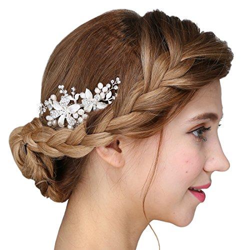 la main argent cheveux peigne fleur mariage perle cr me accessoires bijouterie dulcinea. Black Bedroom Furniture Sets. Home Design Ideas
