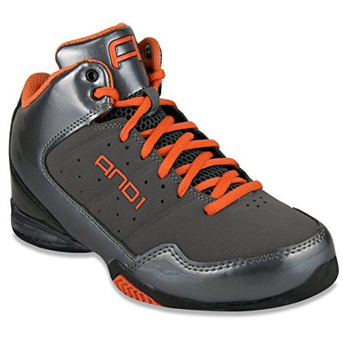 AND1 Men's Master Mid Basketball Shoe (18, Asphalt/Black/Orange)