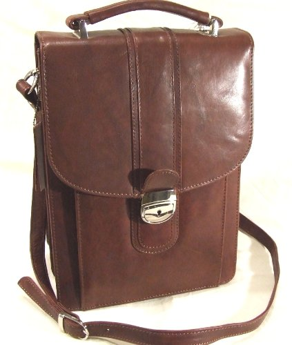 Medium size stylish multifeatured soft leather mens messenger bag