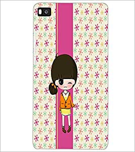 PrintDhaba Cute Doll D-5858 Back Case Cover for HUAWEI P8 (Multi-Coloured)