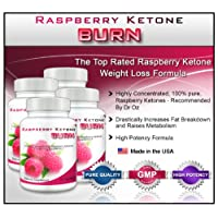 Raspberry Ketone Burn (4 Bottles) - Highly Concentrated Raspberry Ketones Fat Burner Supplement. The New Best All Natural Weight Loss Diet Formula. 500mg (30 Capsules per Bottle)