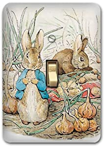 Peter rabbit metal light switch plate cover bunny nursery for Rabbit decorations home