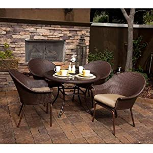 Modern 5 Piece Rattan Look Dining Set | Powder-coated Steel Frame and