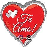 Anagram International Jmb Te Amo Red & Silver Flat Balloon, Multicolor