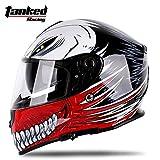 TankedRacingV127 フルフェイスヘルメット フルフェイス TankedV127 Tanked Racing V127 おしゃれ バイクヘルメット bike helmet バイク用品 内装洗濯可能 おすすめ シールド付 レディース メンズ(サイズM:57cm~58cm)