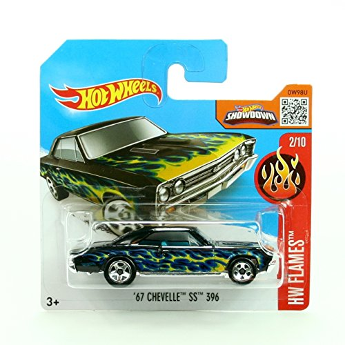 '67 CHEVELLE SS 396 (092/250) * Short Card Package * Hot Wheels 2016 HW FLAMES SERIES (02/10) 1:64 Scale Die-Cast Vehicle (Chevelle Super Sport compare prices)