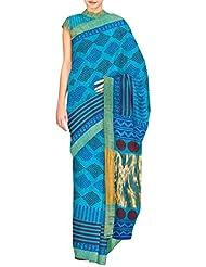 Unnati Silks Women Pure Handloom Pashmina Silk Printed Blue Saree - B00OQ1LCD8
