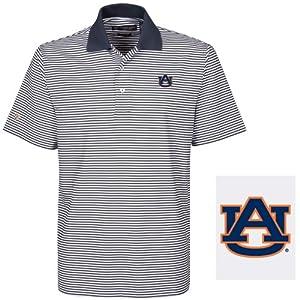 NCAA Auburn Tigers Mens Ashford Stretch Coolmax Stripe Polo Shirt by Oxford