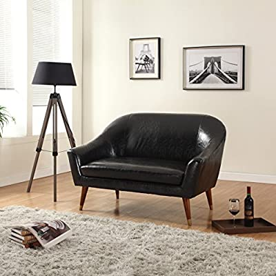 Divano Roma Furniture Signature Collection Mid Century Modern Bonded Leather Living Room Loveseat