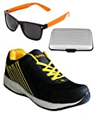 Spot On Men's Navy Yellow Running Shoes With Lotto Sunglasses And Cardholder Combo UK-10