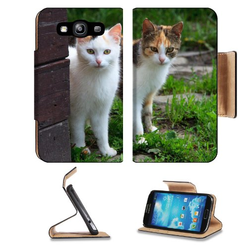 Two Young Cats Creeping Around Corner Samsung Galaxy S3 I9300 Flip Cover Case With Card Holder Customized Made To Order Support Ready Premium Deluxe Pu Leather 5 Inch (132Mm) X 2 11/16 Inch (68Mm) X 9/16 Inch (14Mm) Msd S Iii S 3 Professional Cases Access front-1067589