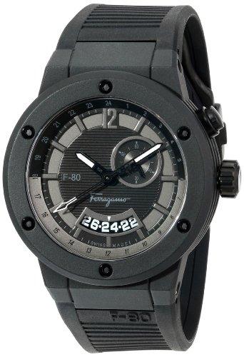 Salvatore Ferragamo Men's F55LGQ6877 S113 F-80 Black Carbon Fiber and Black Rubber Watch