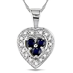 2mm Round Sapphire and Diamond Accent Pendant in 14k WG, I2-I3
