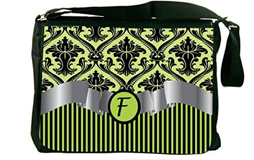 "Rikki Knighttm Letter ""F"" Initial Lime Green Damask And Stripes Monogrammed Messenger Bag - - Shoulder Bag - School Bag For School Or Work - With Matching Coin Purse"