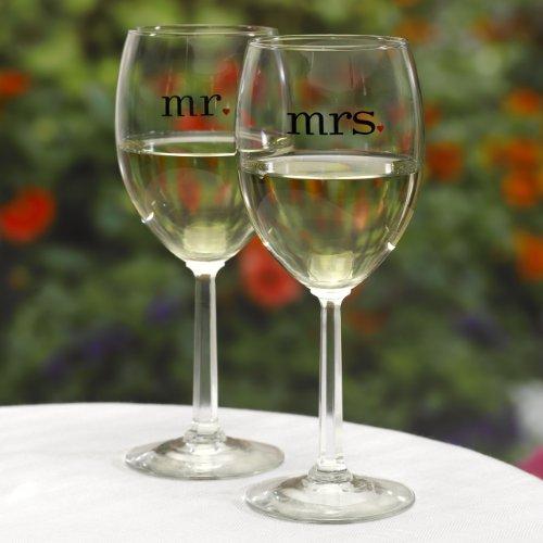Hortense B Hewitt Wedding Accessories Mr And Mrs Wine Glasses Set Of 2 Food Beverages
