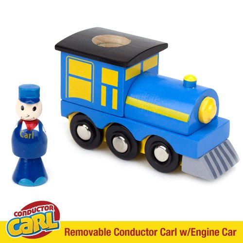 Conductor Carl with Wood Engine Car Compatible with All Major Wooden Train Systems by Conductor Carl
