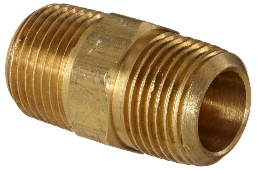 Anderson Metals 56122 Brass Pipe Fitting, Hex Nipple, 3/8″ x 3/8″ NPT Male Pipe