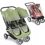 Baby Jogger 87174RAIN City Mini Double - Green-Gray w Rain ...