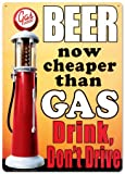 Beer Now Cheaper than Gas - Drink, Dont Drive - Retro Vintage Tin Sign