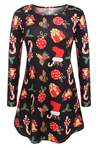 Meaneor Long Sleeves Plus Size Santa Christmas Xmas Gifts Printed Flared Swing Dress Top (M, Bell and Candle)