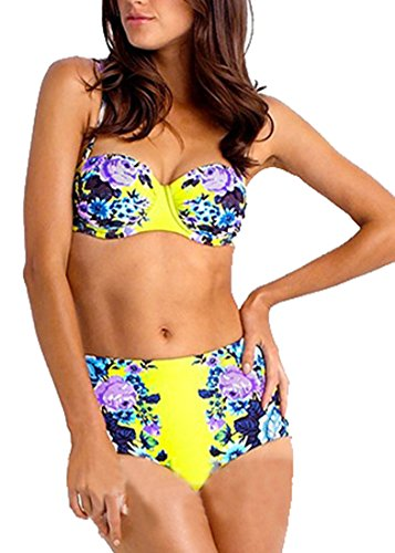 [High Waisted Push up Padded Swimwear Swimsuit with Peony Floral, Yellow, Asian XXL, US Large] (Xxl Santa Suits For Sale)