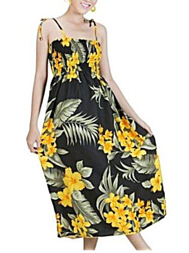 Hawaiian Black & Yellow Floral Long Sun Dress-One Size (S-Xl) F19