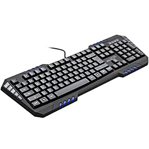 Gaming Keyboard Blue LED Backlit Sentey® Phoenix Gs-5700 / Blue Led Lightning Illuminated Key's / Replaceable Orange Gaming Keys Wasd / 114 Keys / 7 Macrokeys / Software / Carry Bag for Transport / Extreme Series / 8 Rollover Keys / 50 Million Times / 50g Acuation Force / 128k On-board Memory to Record Profiles / 3 Different Levels of Light Brightness / Windows Lock Key Feature / 3 Profiles Setup / 1.8 All Braided Cable / USB 2.0 Gold Plated USB Connector / All Black Rubber Coating Painting / Weight 663.5g (1.46lbs) / Cable Management with Velcro Straps / USB Cap Connector - Connector Cap / Keycap Laser Engraving