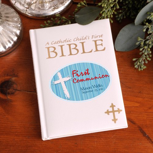Personalized Blue First Communion Catholic Children's Bible