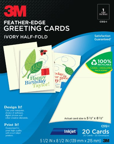 3m feather edge greeting cards inkjet 2 sided printing ivory 5 1 designed for inkjet printers go to 3mlabels to download free templates for easy layout of designs they are also compatible with popular software m4hsunfo