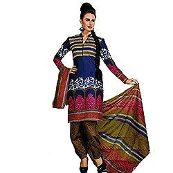 Srusti Enterprise Women's Unstitched Cotton dress material (SE-06_Multi_Free Size)