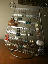 Silver Jewelry Harp Earring Rack Stand Holder, Vintage Jewelry Organizer