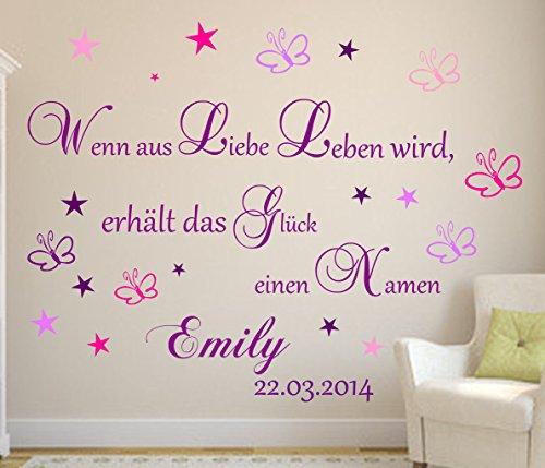 Wandtattoo Lila+ Wenn aus Liebe Leben wird...Wandtattoo mit Namen und Datum Wandspruch Baby Kinderzimmer XXL (Set A Mädchen)