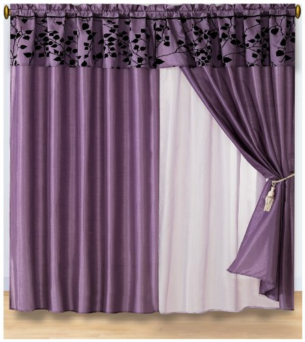 Discount 4 Pieces Purple With Black Velvet Floral Flocking Window Curtain Drape Set With Sheer