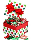 Old Fashioned Assorted Hard Candy in a Jovial Dot Candy Gift Box Loaded with Wrapped Arcor Candy, Mini Candy Canes & Starlight Mint Discs,
