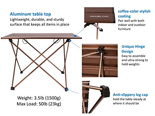 Trekology Camping Table With Aluminum Table Top   Portable Folding Table In  A Bag For Beach, Picnic, Camping, Patio, Fishing, Indoor, Brown Color
