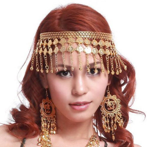 BellyLady Belly Dance Tribal Gold Coins Headband, Gypsy Jewelry, Idea Idea