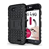 CaseMachinee Flip Kick Stand Hard Dual Armor Hybrid Bumper Back Case Cover For LG L90 D410 Dual Sim - Black