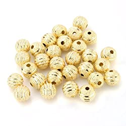 Beadnova Silver / Gold Plated Matel Beads Stardust Stripe Sparkle Hollow Round Beads 4mm 6mm 8mm 10mm Gold Plated DC Stardust Stripe Beads/8mm AD