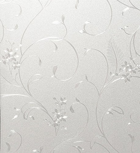 Bloss PVC Home Frosted Sticker Glass Film Privacy Scroll Flower Decorative Self Adhesive Removeable Window Cling Self Adhesive Film Switchable Frosted(17.7-by-78.7 Inch) (Vinyl French Doors compare prices)