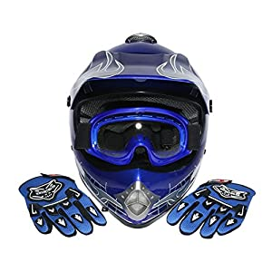 TCMT Dot Youth & Kids Motocross Offroad Street Helmet Blue Skull Motorcycle Helmet Silver Dirt Bike Helmet+Goggles+gloves M by TCMT