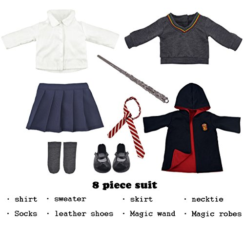 Ebuddy Hermione Granger Inspired Doll Clothes Shoes For American Girl Dolls 8pc Hogwarts Like School Uniform With Cloak