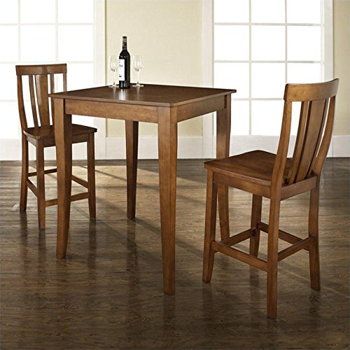 Crosley 3 Piece Pub Dining Set w/ Cabriole Leg and Shield Back Stools in Classic Cherry
