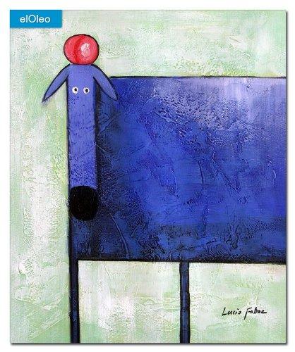 elOleo Pop Art – Der lustige violette Hund 60×50 Gemälde auf Leinwand handgemalt 83244A günstig