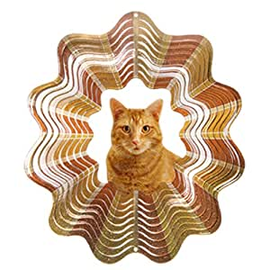 Iron Stop D450-10 Tabby Cat Wind Spinner, Orange