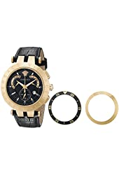 """Versace Men's 23C80D008 S009 """"V-Race"""" 18k Rose Gold-Plated Stainless Steel and Black Leather Watch"""