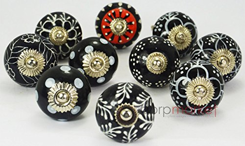 Dorpmarket 10 Pieces Set White & Red on Black Color Beautiful Designed Ceramic Door Knobs Handles Kitchen Drawer Pulls (Black And White Knobs compare prices)