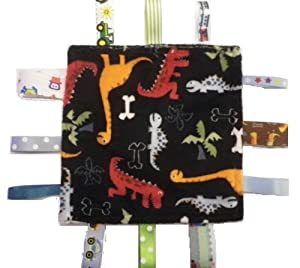 Luxury Soft Security Tag/Taggy Blanket: Dinosaurs