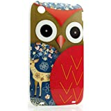 CaseiLike�, A01C3301-Red, Owl Graphic Design, Snap-on hard case back cover for Apple iPhone 3 3G 3GS with Screen Protector