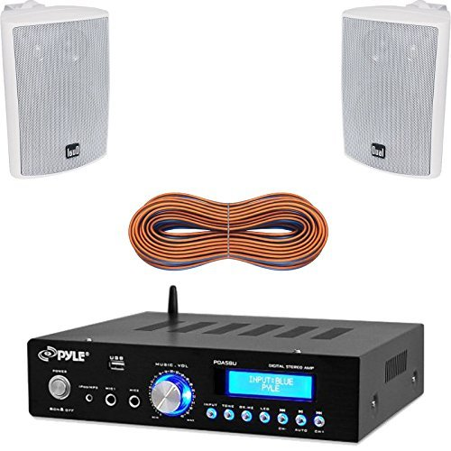 Pyle PDA5BU Amplifier Receiver Stereo, Bluetooth, AM/FM Radio, USB Flash Reader, Aux input (3.5mm) LCD Display, 200 Watt - Bundle With Enrock 50ft 16g Speaker Wire (Outdoor Sound System compare prices)