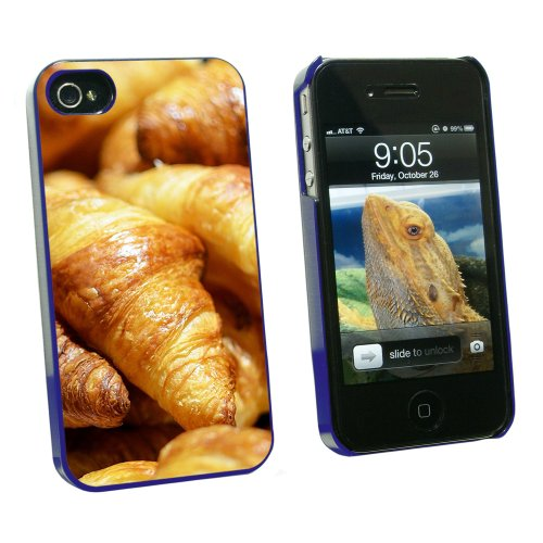 Croissants Bread - France Paris - Snap On Hard Protective Case for Apple iPhone 4 4S - Blue